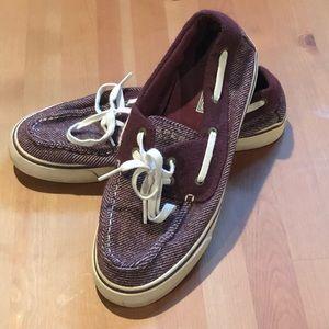Women's Sperry's maroon stripe boat shoes size 7.5